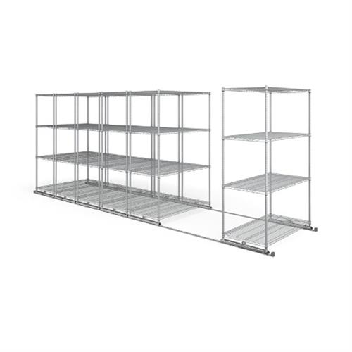 View a larger image of the OFM X5 Lite Sliding Storage System with Tracks (Six 4-Shelf Units) (48x24) X5L6-4824-SLVR.