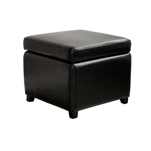 View a large image of the Wholesale Interiors Bicast Leather Storage Ottoman Black Y-162-J023-BLACK here.