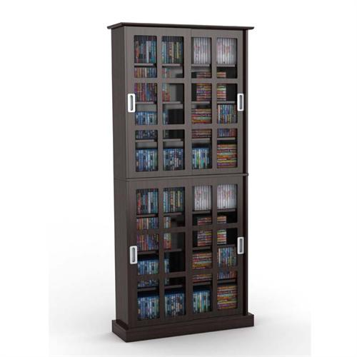 View a large image of the Atlantic Windowpane Media Cabinet with Sliding Glass Doors Espresso 94835757 here.
