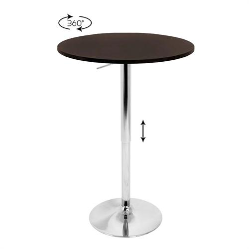View a large image of the LumiSource Adjustable Wood Top Bar Table Brown BT-ADJ23TW BN here.