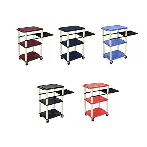 View a large image of the H. Wilson 42 inch Tuffy Presentation Station with White Legs Various Shelf Colors WTPSP42E here.