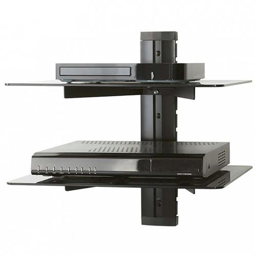 View a large image of the AVF Adjustable Audio Video Component Shelves Black Glass AS200-A here.