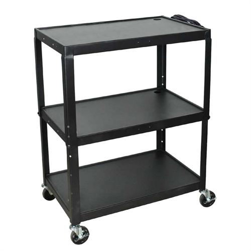 View a large image of the Luxor Adjustable Height Extra Large AV Cart Black AVJ42XL here.