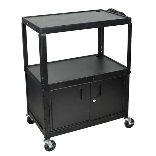 View a large image of the Luxor Adjustable Height Extra Large AV Cart with Cabinet Black AVJ42XLC here.