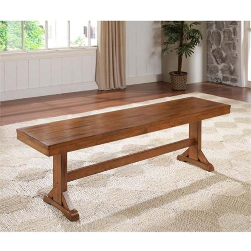 View a large image of the Walker Edison Wood Dining Bench Antique Brown DBW1AB here.
