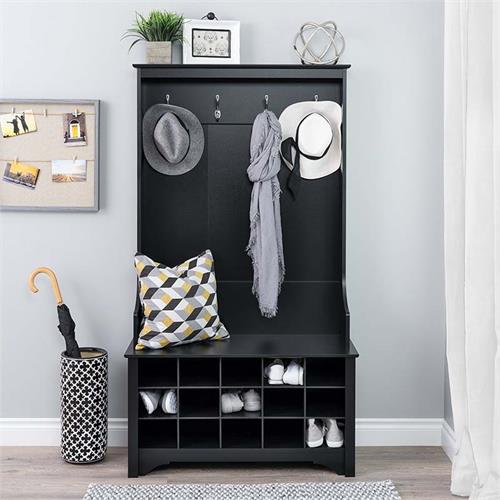 View a large image of the Prepac Entryway Hall Tree with Shoe Storage and Bench Black BSOG-0011-1 here.