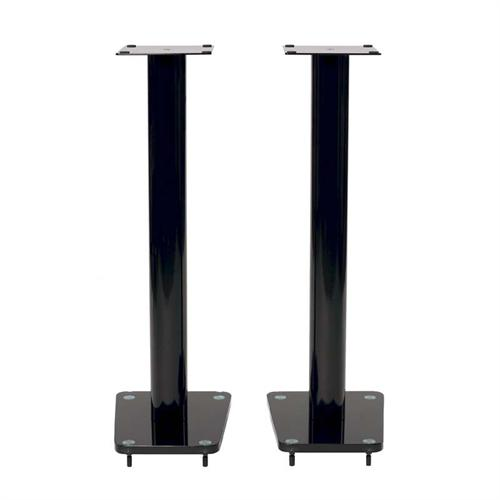 View a large image of the TransDeco 32 inch Tempered Black Glass & High Gloss Black Steel Speaker Stands TD32BA here.
