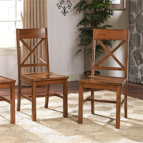 View a large image of the Walker Edison Millwright Set of Two Solid Wood Dining Chairs Antique Brown CHW2AB here.