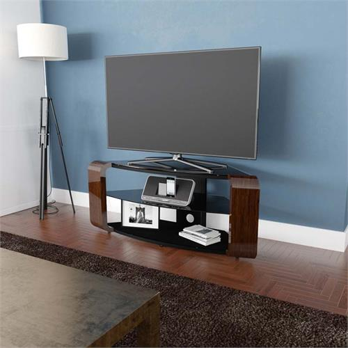 View a large image of the AVF Como 55 in. Corner TV Stand Glossy Walnut FS1174COW-A here.