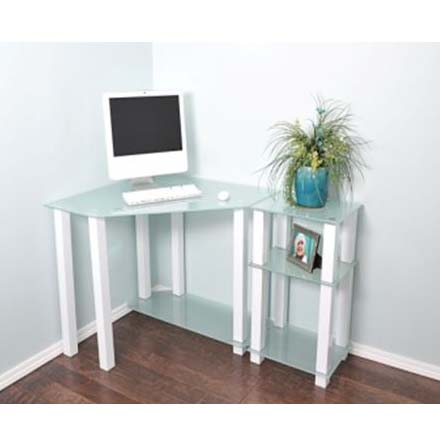 View a large image of the RTA Frosted Glass Corner Computer Desk with 20 inch Extension Table White CT-0135W here.