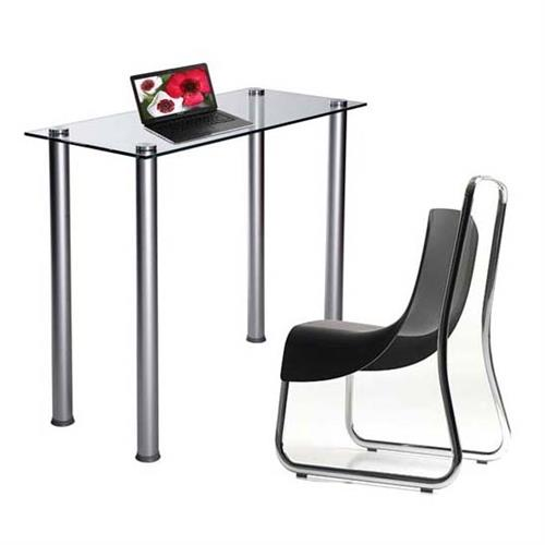 View a large image of the RTA Clear Glass Writing Table or Laptop Desk Silver CT-015 here.