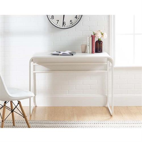 View a large image of the Walker Edison Urban Industrial Curved Metal Desk White DM42CURWH here.