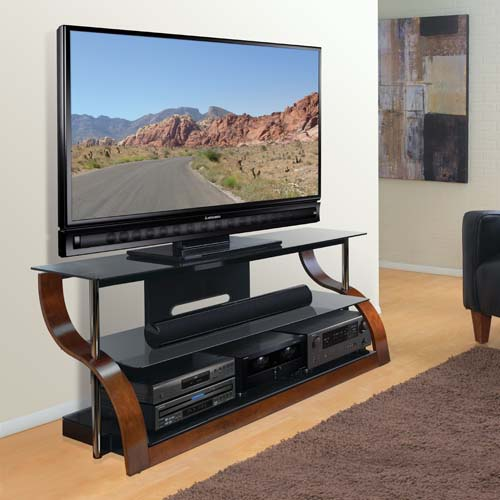 Bello Curved Wood And Black Glass Tv Stand For 73 Inch Screens