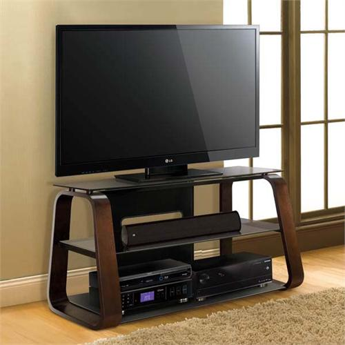 View a large image of the Bello Curved Wood 55 inch TV Stand with Tinted Glass Deep Espresso CW349 here.