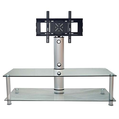 View a large image of the RTA Clear Glass TV Stand with 55 inch TV Mount Silver D2F-105 here.