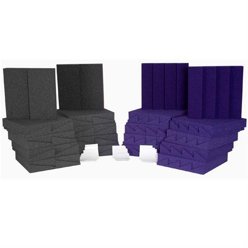 View a large image of the Auralex Acoustics Designer Series Roominators Sound Control Kit Purple and Charcoal D36PUR here.