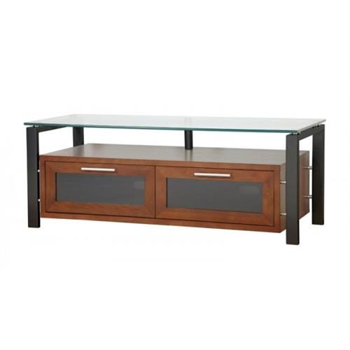 View a large image of the Plateau TV Stand for 32-50 in. TVs Walnut Clear Glass Black Frame Decor 50 W-B here.