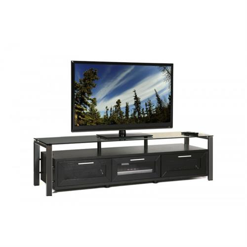 View a large image of the Plateau TV Stand for 50-71 in. TVs Black Glass Frame & Wood Decor 71 B-B-BG here.