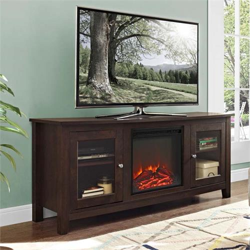 View a large image of the Walker Edison Media TV Stand with Electric Fireplace Brown W58FP4DWTB here.