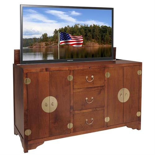 View a large image of the TV Lift Cabinet Dynasty Series Lift for 60 inch Screens Michaels Brown AT006468MICH here.