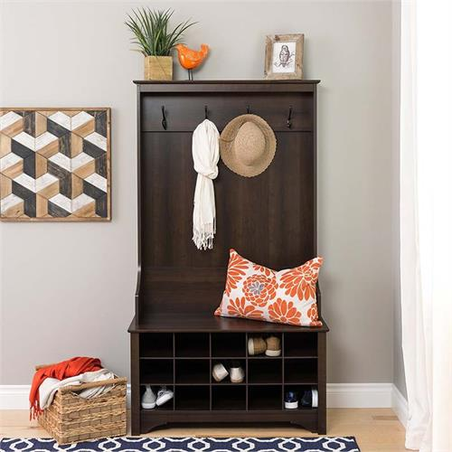 View a large image of the Prepac Entryway Hall Tree with Shoe Storage and Bench Espresso ESOG-0011-1 here.