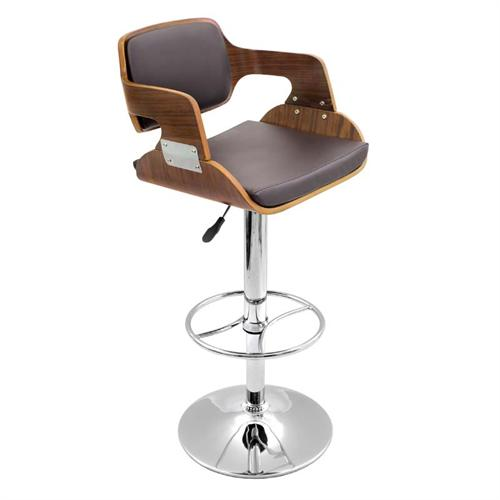 View a large image of the LumiSource Fiore Bar Stool Walnut and Brown BS-JY-FR WAL BN here.