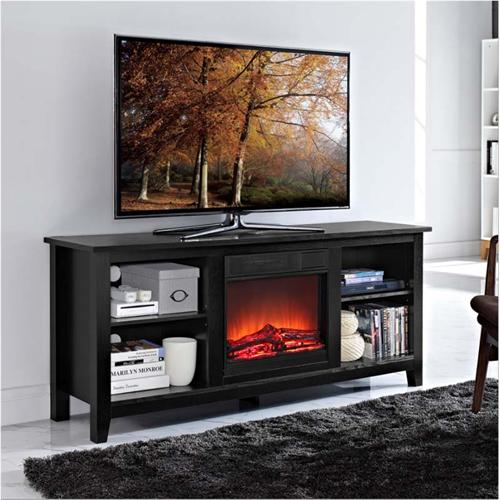 View a large image of the Walker Edison 60 inch TV Stand with Fireplace Insert Black W58FP18BL here.