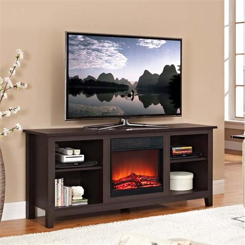 View a large image of the Walker Edison 60 inch TV Stand with Fireplace Insert Espresso W58FP18ES here.