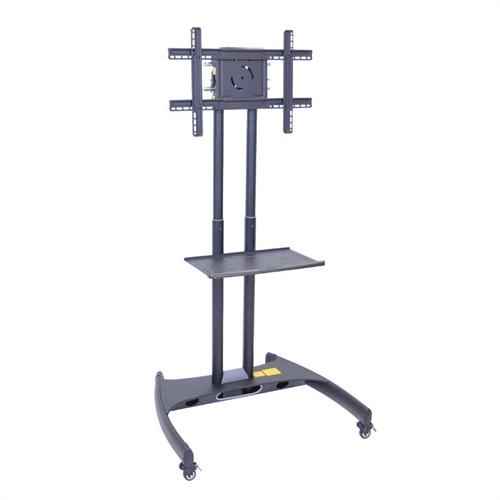 View a large image of the Luxor FP Series Mobile 32 to 60 in. Flat Panel TV Mount with Accessory Shelf Black FP2500 here.