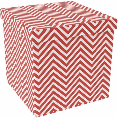 View a large image of the Atlantic 15x15 inch Collapsible Ottoman in Chevron Tangerine Tango Set of 2 67335935 here.