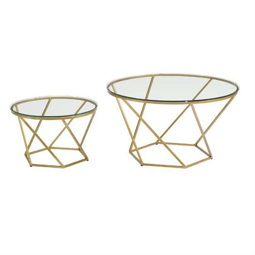 View a large image of the Walker Edison Geometric Glass Nesting Coffee Tables Gold AF28CLRGGGD here.