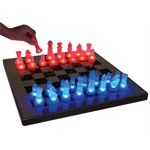 View a large image of the LumiSource Glowing Chess Set Blue and Red SUP-LEDCHES-BR here.