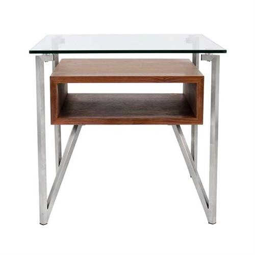 View a large image of the LumiSource Hover End Table Walnut TB-HVR-ET WL here.
