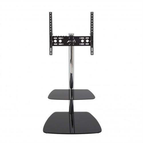 View a large image of the AVF Iseo Pedestal Corner Stand with 55 inch TV Mount Chrome FSL600ISBB-A here.