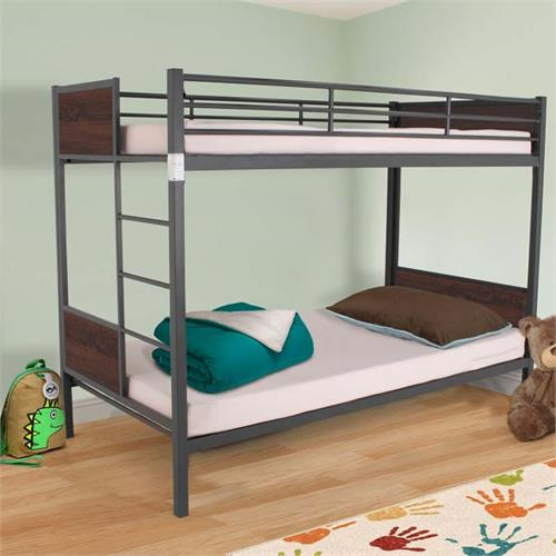 View a large image of the Living Essentials Juno Folding Bunk Bed with Headboard (Espresso) BFMRE0720 here.