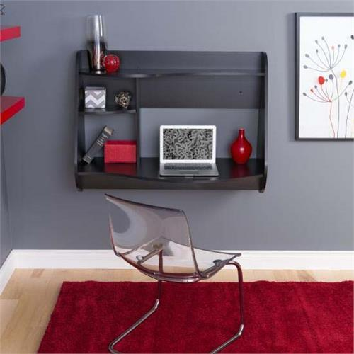 View a large image of the Prepac Kurv Wall Mounted Floating Desk Black BEHW-0901-1 here.