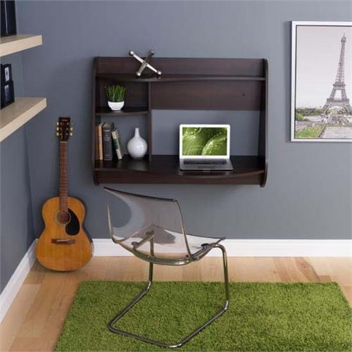 View a large image of the Prepac Kurv Wall Mounted Floating Desk Espresso EEHW-0901-1 here.
