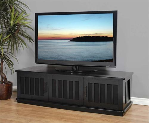 View a large image of the Plateau Slatted Wood TV Stand for 43-65 in. TVs Black LSX-T 62 B here.