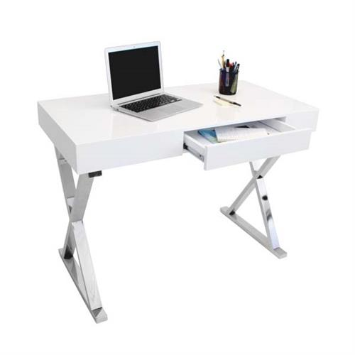 View a large image of the LumiSource Luster Desk with Storage Drawer Glossy White OFD-TM-LSTR W here.