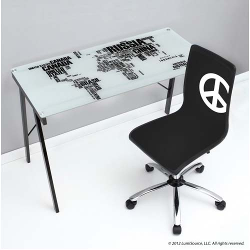 View a large image of the LumiSource World Map Glass Desk Black and White OFD-TM-PGWORLD here.