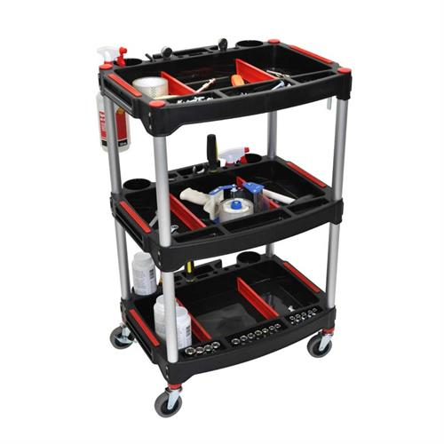 View a large image of the Luxor 3 Shelf Mechanics Utility Cart Black MC-3 here.