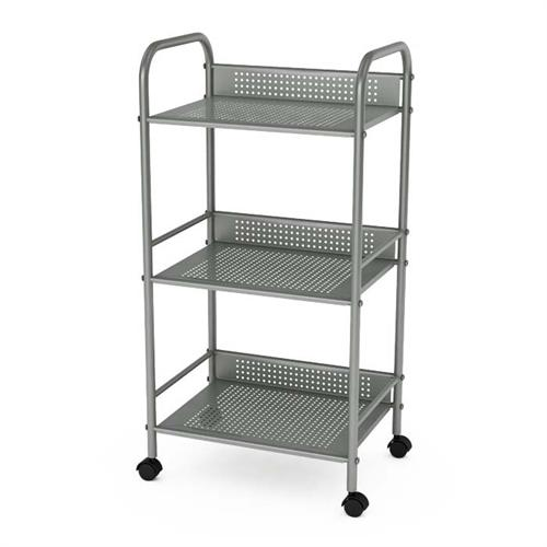 View a large image of the Atlantic 3 Tier Storage Cart on Wheels Moonmist Silver 38436005 here.