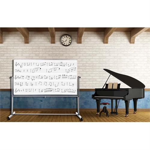 View a large image of the Luxor Mobile Double Sided Music Whiteboard Silver and White MB7248MM here.