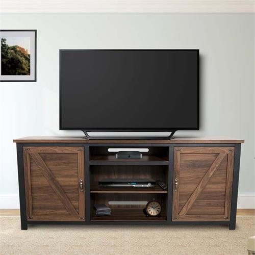 View a large image of the Living Essentials Porto Novo 80 in. TV Console (Walnut and Black) CFWHW0573 here.
