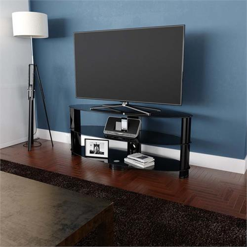 View a large image of the AVF Oval Black Glass 65 inch TV Stand Glossy Black OVL1400BB-A here.