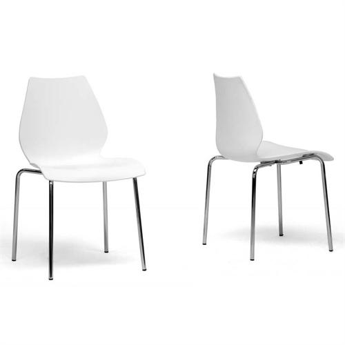 View a large image of the Wholesale Interiors Overlea Modern White Plastic Dining Chair DC-7A-white here.