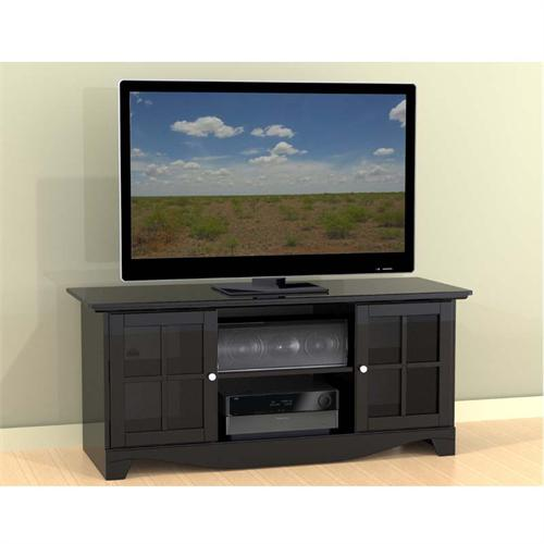 View a large image of the Nexera Pinnacle Collection 56 in. TV Stand with Center Channel Opening Black 101206 here.