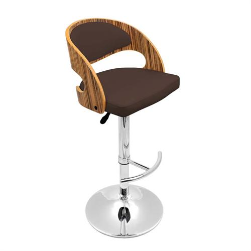 View a larger image of the LumiSource Pino Bar Stool (Zebra Wood and Brown) BS-JY-PN ZB-BN.