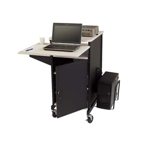 View a large image of the Oklahoma Sound Jumbo Plus Presentation Cart (Black and Ivory) PRC450 here.