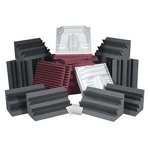 View a large image of the Auralex Acoustics Pro Plus Roominator Sound Control Kit Burgundy and Charcoal ROOMPROPLUSBUR here.